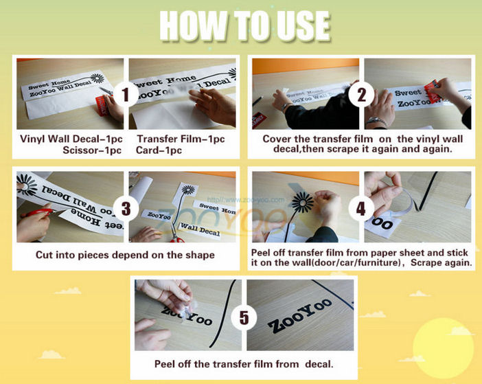 Instructions how to use live laugh love wall art sticker