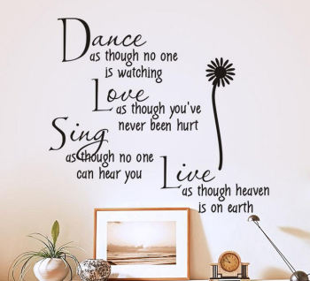Dance, Love, Sing, Live Wall Art Sticker