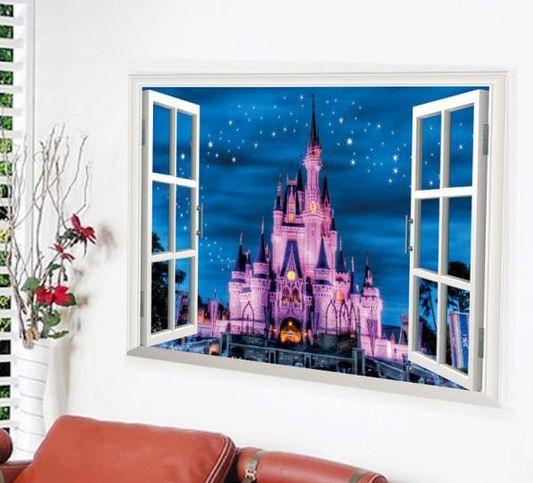 Wall Art Sticker Pink Princess Castle