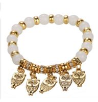 Owl Bracelet in White and Gold
