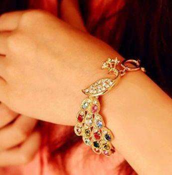 Peacock Bracelet in Gold with Multicoloured Gems