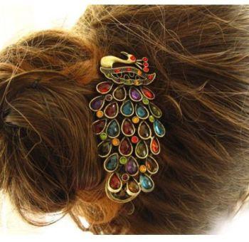Peacock Gemstone Hair Clip