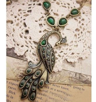 Peacock Necklace with Green and Black Peacock Pendant