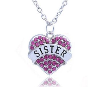 Sister Pendant Necklace in Silver with Pink Gems