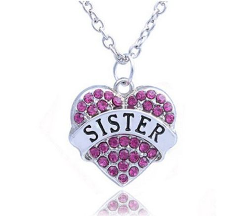 Sister pendant necklace sister pendant necklace in silver with pink gems aloadofball Image collections