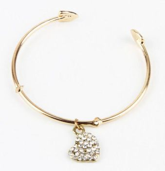 Gold solid bracelet with rhinestone pendant heart