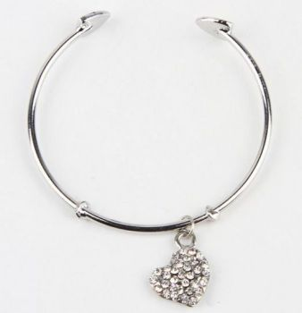 Silver solid bracelet with rhinestone pendant heart