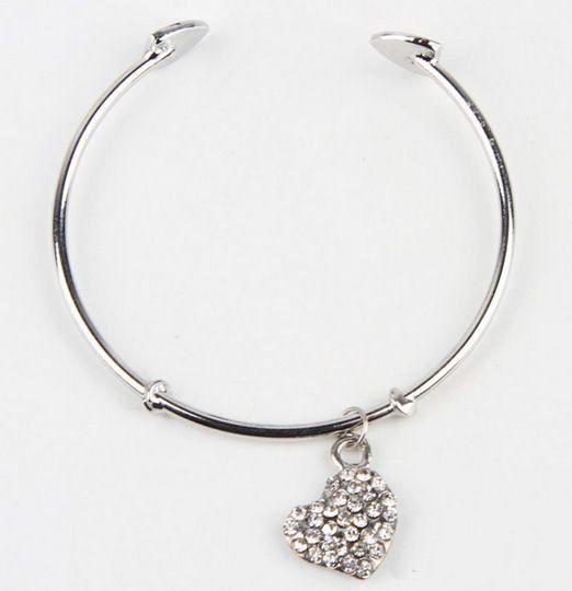 Silver solid bracelet with rhinestone pendant heart