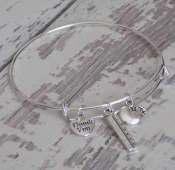 Silver Thank You Teacher Charm Bracelet