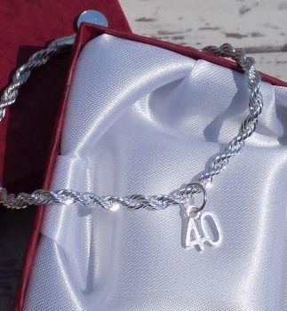 Personalised 40th Silver Bracelet