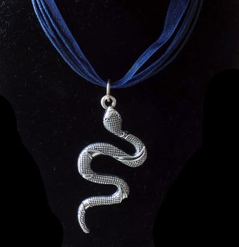 Snake Pendant Necklace in Silver and Navy Blue