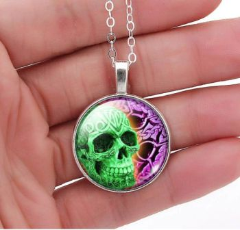 Sugar Skull Glass Dome Pendant Necklace