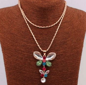 Long Butterfly Heart Pendant Necklace