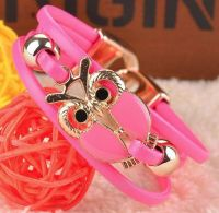 Owl Bracelet in Neon Pink and Gold
