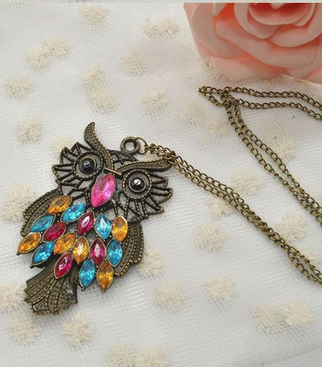 Owl Pendant Necklace in Bronze
