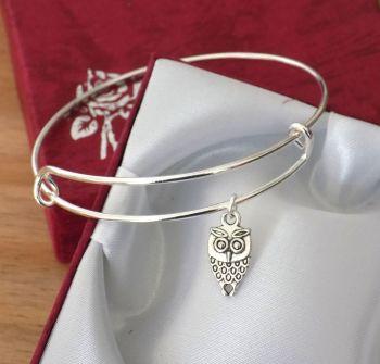 Owl Charm Bracelet - Silver