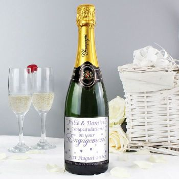 Personalised Engagement Champagne (Hearts)