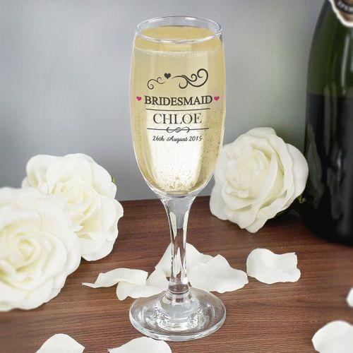 Personalised Bridesmaid Flute Glas
