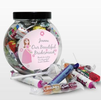 Personalised Bridesmaid Sweet Jar