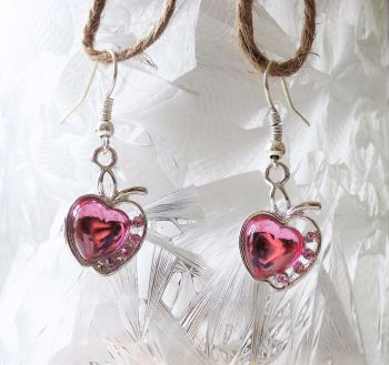 Silver Apple Earrings with Pretty Pink Gemstone