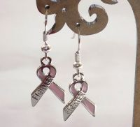 Breast Cancer Earrings - Pink Ribbon Fighter