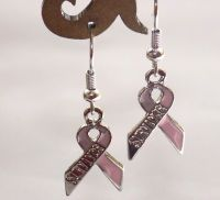 Breast Cancer Earrings - Pink Ribbon Survivor