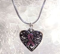 Breast Cancer Necklace - Heart and Ribbon