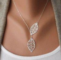 Silver Leaf Pendant Necklace - Double Leaf
