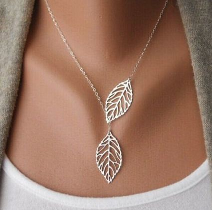 Silver Leaf Pendant Necklace - Double Leaf