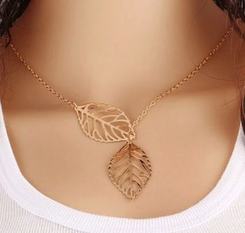 Gold Leaf Pendant Necklace - Double Leaf