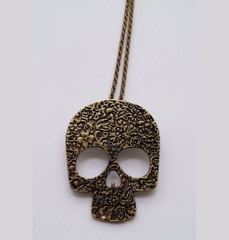 Sugar Skull Long Pendant Necklace - Antique Gold