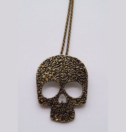 Sugar Skull Long Pendant Necklace - Antique Gold