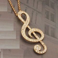 Gold Musical Note Pendant Necklace
