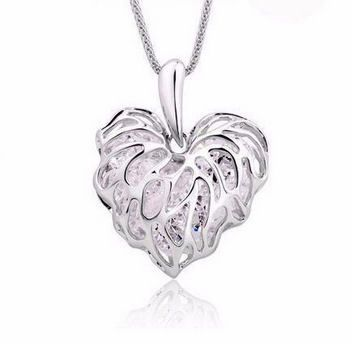 Long Silver Heart Pendant Necklace