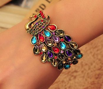 Peacock Bracelet with Multicoloured Gems