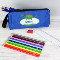 Personalised Boys Pencil Case and Pencils - Dinosaur