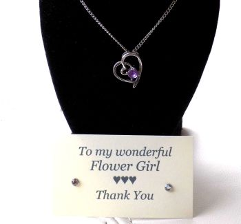 Flower Girl Gift - Lilac Gem Pendant Necklace