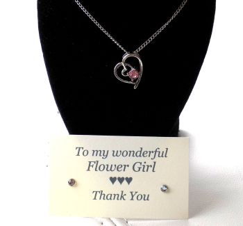 Flower Girl Gift - Pink Gem Pendant Necklace