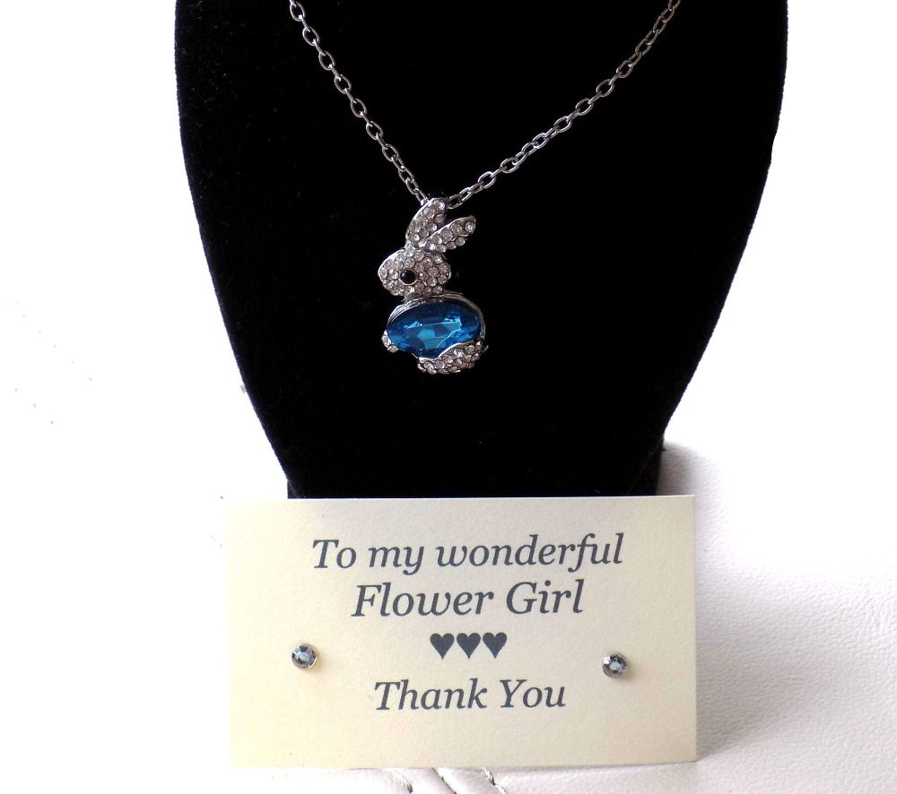 Flower Girl Gift - Blue Bunny Gem Pendant Necklace