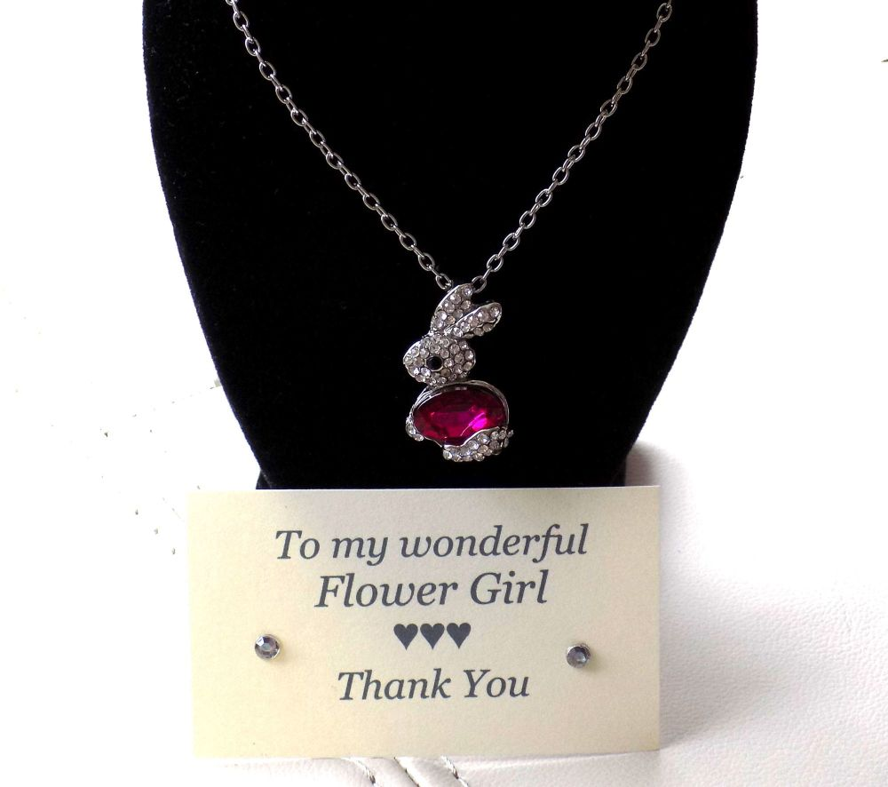 Flower Girl Gift - Pink Bunny Gem Pendant Necklace