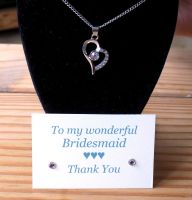 Bridesmaid Gift, Crystal Heart Necklace