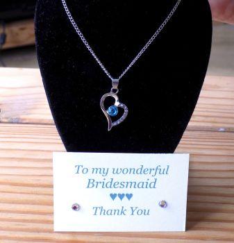 Bridesmaid Gift, Aqua Heart Pendant Necklace