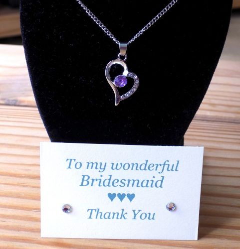 Bridesmaid Gift, Lilac Heart Pendant Necklace