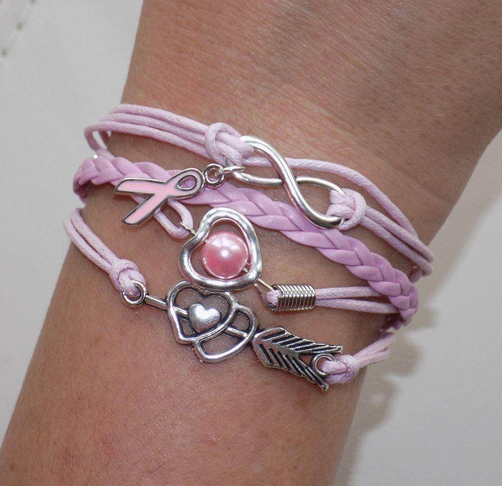 Infinity Breast Cancer Bracelet - Pale Pink