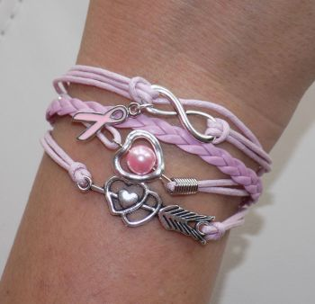 Infinity Breast Cancer Bracelet - Pale Pink