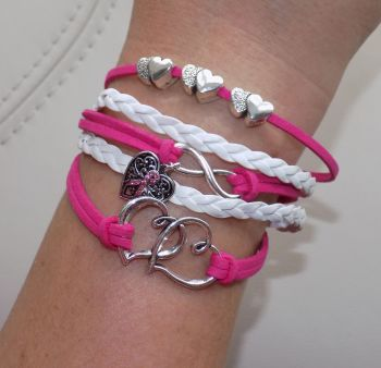 Breast Cancer Bracelet - Pink and White