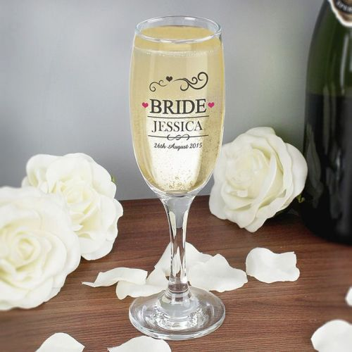 Personalised Bride Flute Glass