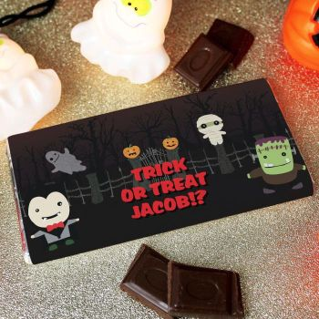 Personalised Halloween Chocolate Bar