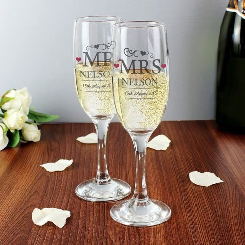 Personalised Mr and Mrs Glasses Engraved Flutes