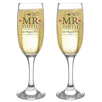 Personalised Mr and Mr Same Sex Glasses Engraved Flutes